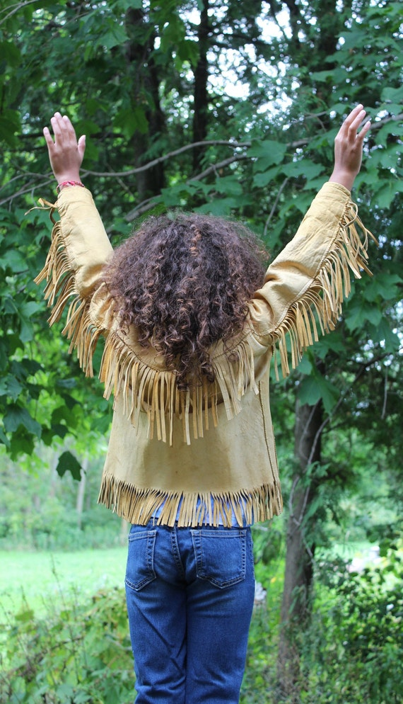 Vintage children's leather fringe jacket 1960's Wo