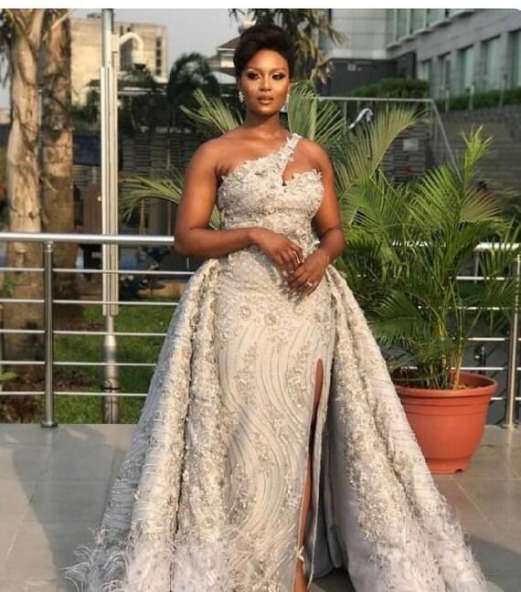 African Wedding Dressafrican Prom Dressafrican Lace Dressafrican Ball Gownafrican Detachable Full Dress