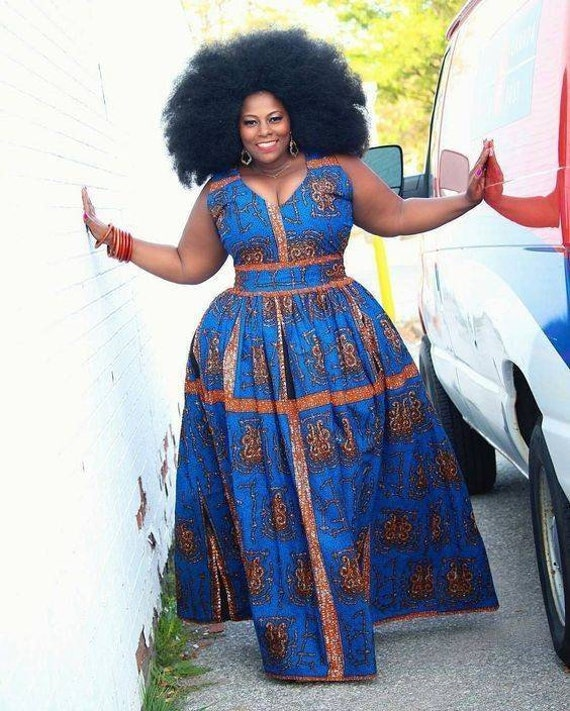 African plus size dress/African maxi dress/African ball dress/African  print/Prom dress