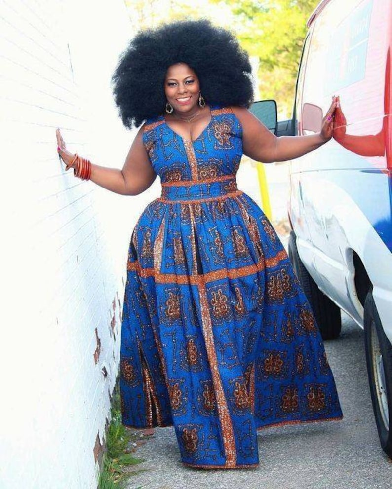 African plus size dress/African maxi dress/African ball dress/African  print/Prom dress