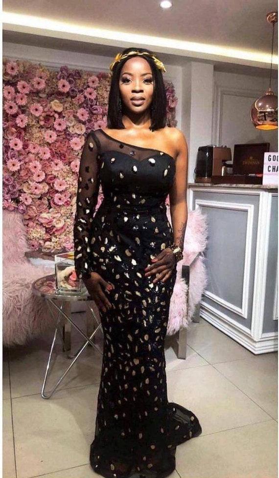 African Prom Dressone Shoulder Dressafrican Lace Dressafrican Wedding Dressafrican Party Dress