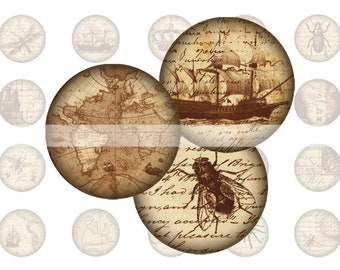 A4 digital collage sheet with round vintage and steampunk patterns