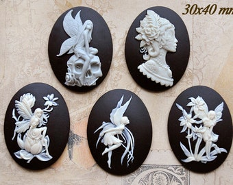 Big set of 30x40mm cameos with fairy motive