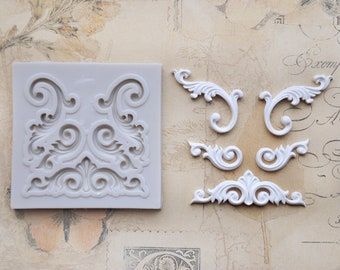 Silicone mould - filigree ornaments e.B. for decorating cakes - books or soaps or for crafting with polymer clay