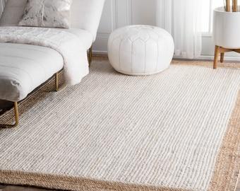 White Color Jute Rug Jute Carpet Rug Rectangle Rug Home Decor Rug Traditional Floor Rug Custom Size Rug Floor Carpet