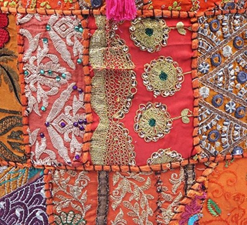 Hippie Bohemian Handmade Khambadia Handmade Bohemian Hand Embroidered Pouf Cover Ethnic Foot Stool Cover Home Decorative Room Patchwork Art