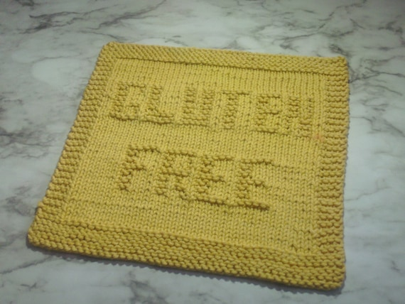 Pattern Dishcloth Knitting Gluten Free Words Digital Etsy