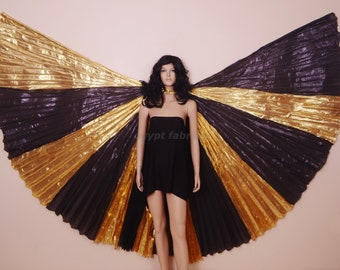 Egyptian Belly dance Costume Green and Golden Lame Professional Cute Isis Wings