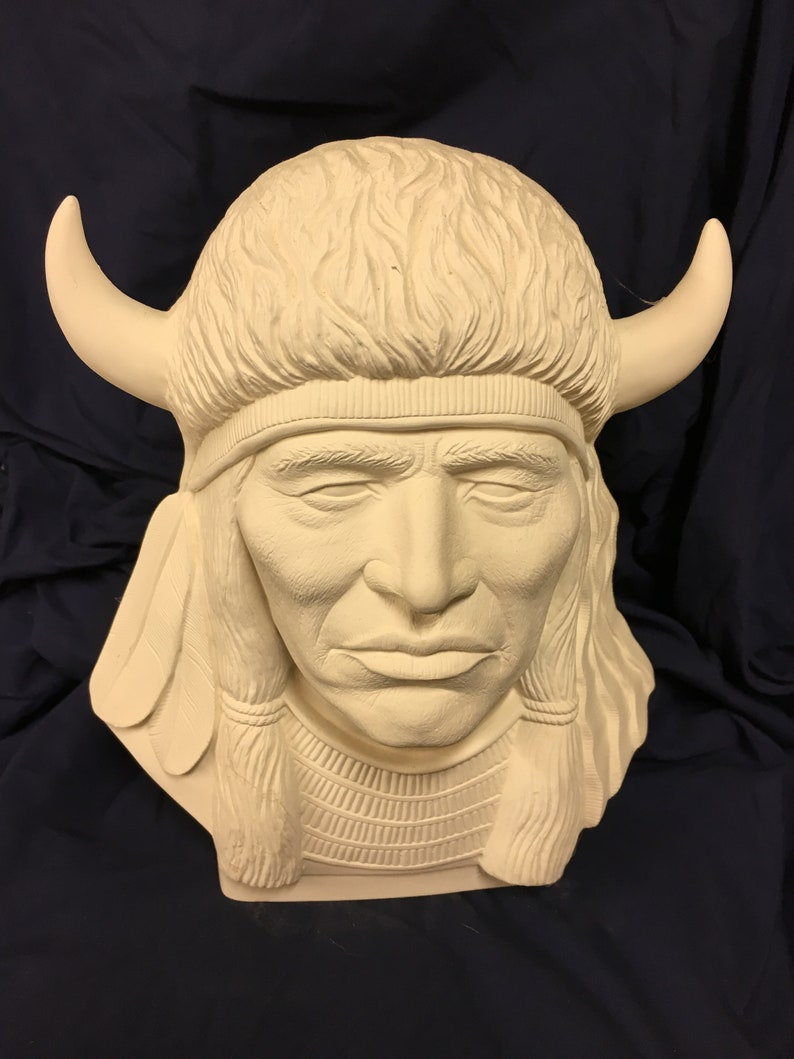 Riverview Indian wHorns ceramic bisque ready to paint