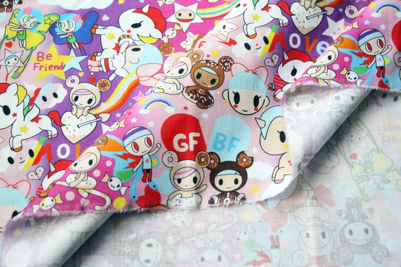 Free Shipping Ships in 24hrs from USA Tokidoki Fabric in Love theme 100/% Cotton breathable fabric for DIY projects by the Fat Quarter