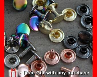 10mm Double Capped Rivets (20 sets) 10mm Cap x 10mm Post - Bag Making Hardware - Rainbow - Rose Gold - Bag Making Supplies - Bag Rivets