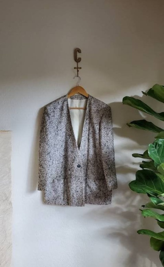 Vintage 1980s 1990s Tweed Oversized Blazer