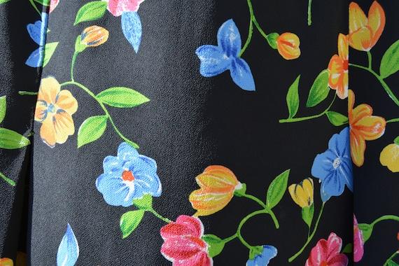 Vintage 1990s FT Studio Black Floral Skirt - image 2