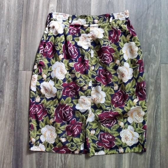 Vintage Josephine Chaus 1990s Rose Print High Waist Skirt