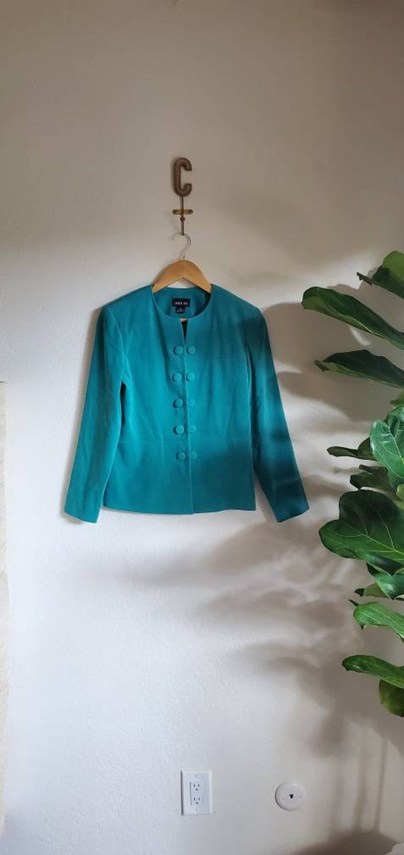 Vintage 1980s 1990s Leslie Fay Teal Blue Green Pet