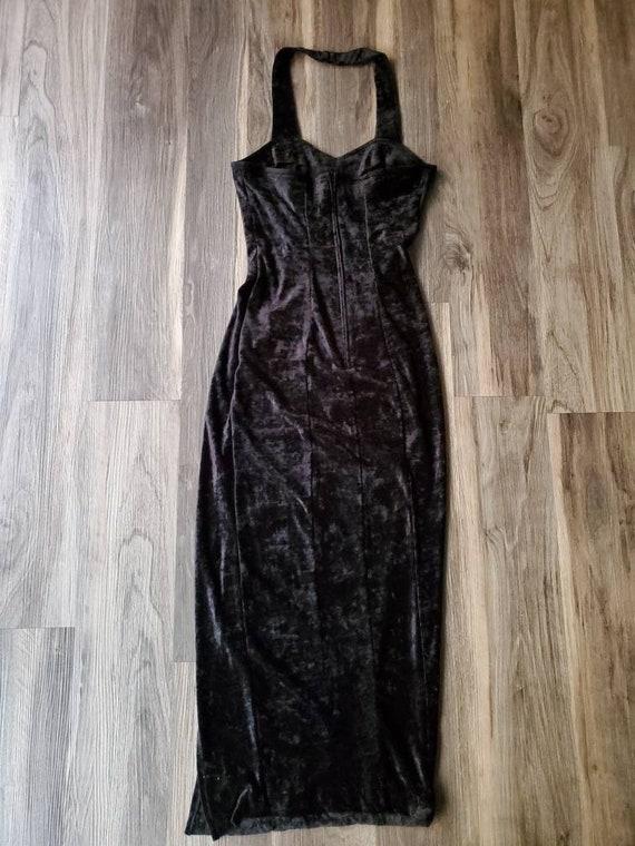 Vintage 1990s Sweetheart Halter Velvet Dress
