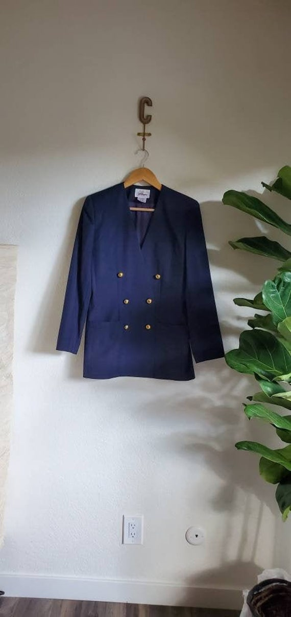Vintage 1980s 1990s Navy Blue Striped Double Breas