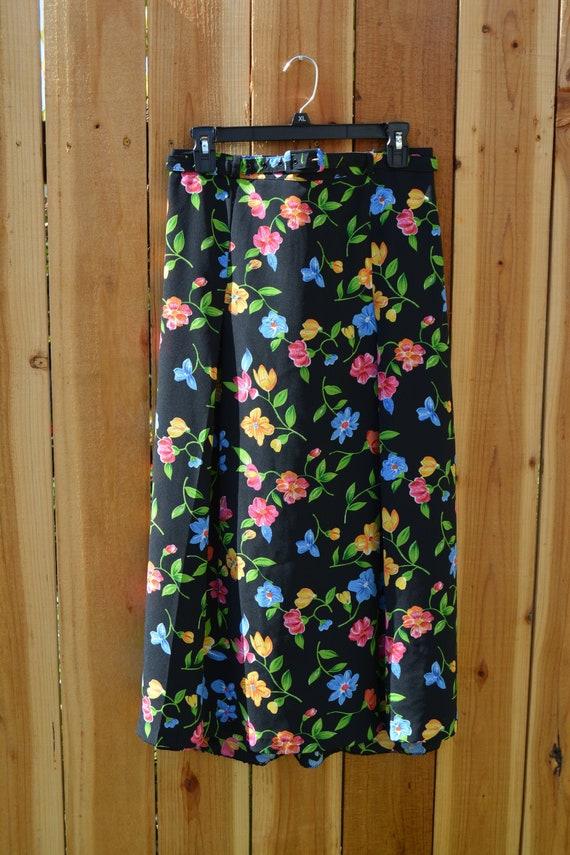Vintage 1990s FT Studio Black Floral Skirt - image 1