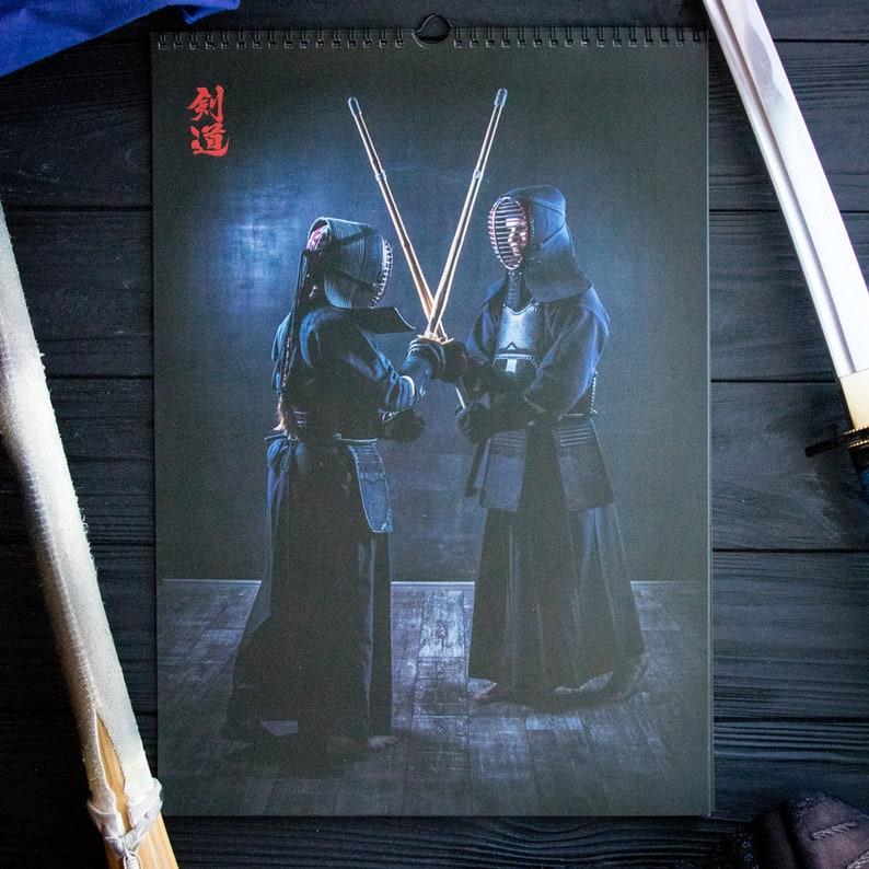 2019 wall calendar, Japanese kendo, turn over, sword fighting, martial  arts, A3 12 months, Sunday start, original artwork, black spiral