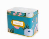 Tin Floral Recipe Box With 24 Cards 12 Dividers by Polite Society