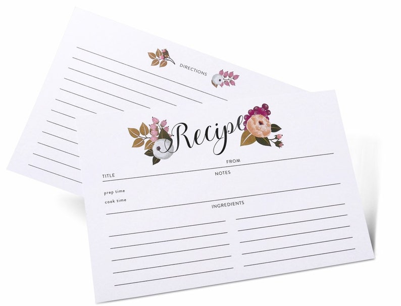 Thick Card Stock by Polite Society Double Sided 4x6 Recipe Cards Refill Set 55 Pack