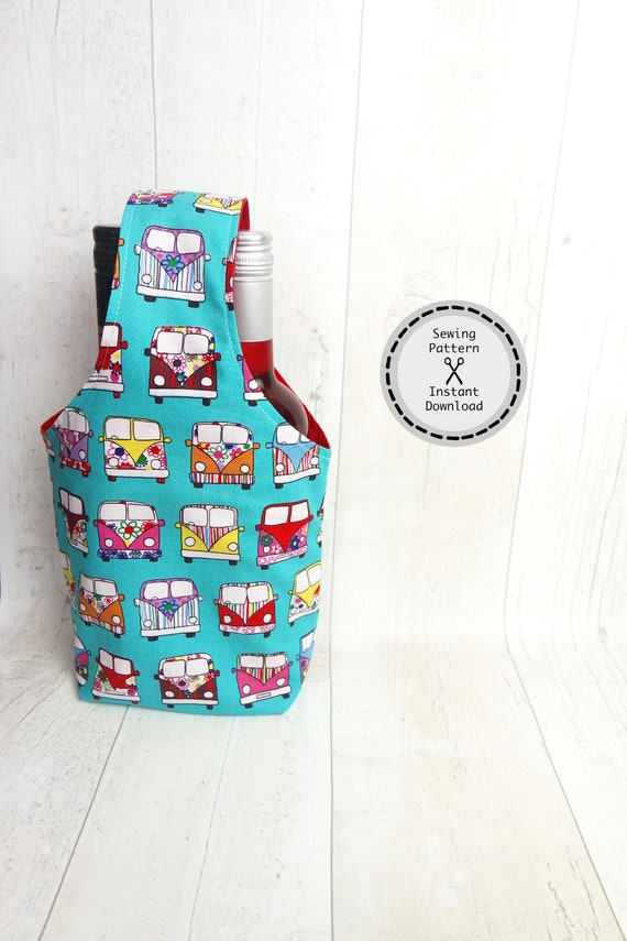 Bottle bag, gift bag, PDF sewing pattern, Instant download, Perfect for beginners.