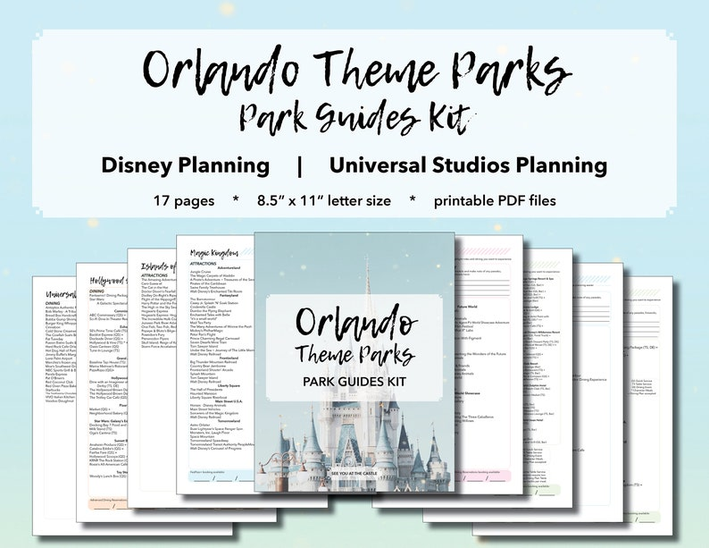 Orlando Theme Parks: Park Guides Kit - Vacation Planning, Disney World  Planning, Universal Studios Planning, Printable Pages PDF, Trip Plan