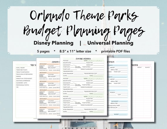 photo regarding Vacation Planning Printable named Orlando Concept Parks: Spending plan Creating Webpages - Trip Coming up with, Disney Planet Developing, Common Studios Coming up with, Printable PDF