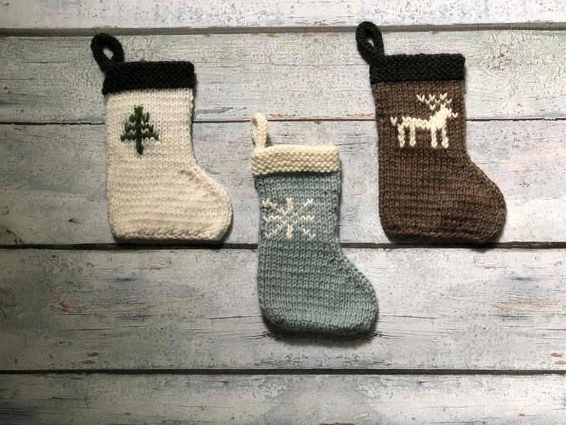 Mini Christmas Stocking Ornaments Hand Knit image 0