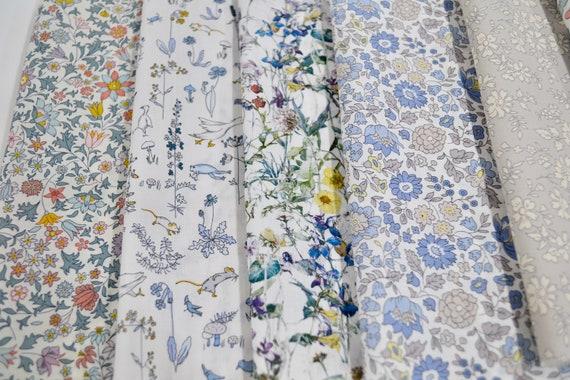 Liberty of London Printed Cotton Tana Lawn Fabric Mixed Remnants Greys /& Whites