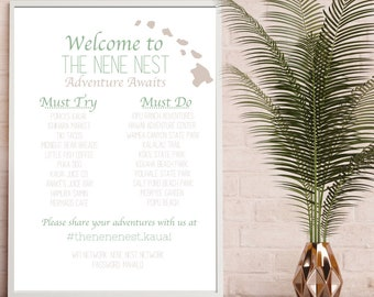 Airbnb Welcome Poster, VRBO Poster, Airbnb Host, Vacation Rental Sign, Activity Poster, Adventures, Los Osos, Beach Rental, Seven Devils