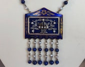 Antique 14k Yellow Gold Guilloche Floral Enamel Necklace with Diamonds, Lapis and Seed Pearls