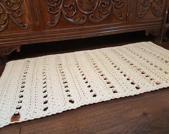Rectangular romantic carpet / Cotton rug / Crochet carpet