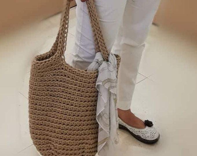Cotton crochet basket / Beach bag / Summer basket / Tassels bags
