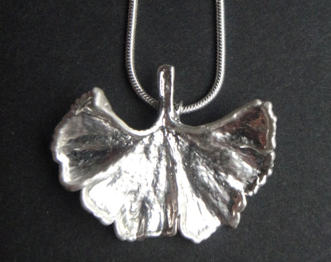 Real ginkgo leaf XS silver plated lucky charm amulet