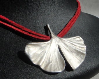 Genuine Ginkgo Leaf 925 Silver Pendant with Suede Strap S22 Gift