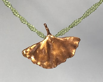Genuine ginkgo leaf copper-plated with peridot olivine necklace