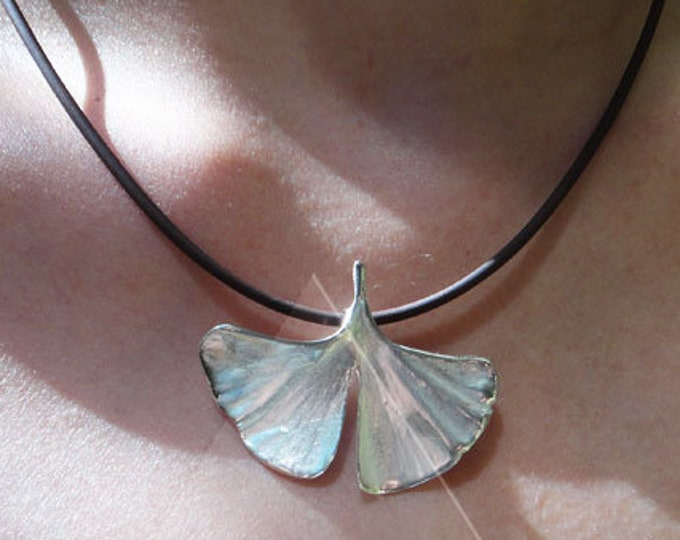 genuine Ginkgo leaf 925 silver pendant with chain S22 gift