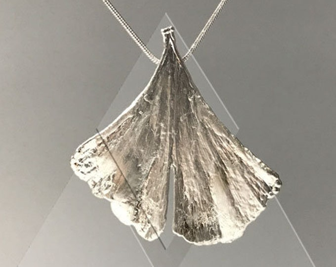 Real ginkgo leaf silver plated snake chain S 110