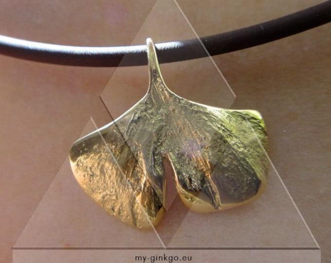 1 XXS MIni Ginkgoblatt GOLD 750 Collier Gift 30