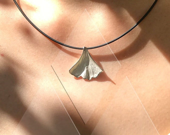 My Ginkgo 925 Silver Print of Real LEAF Collier XS20