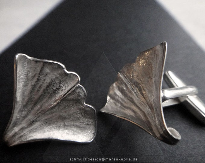 Cufflinks real ginkgo leaf in 925 silver XS20
