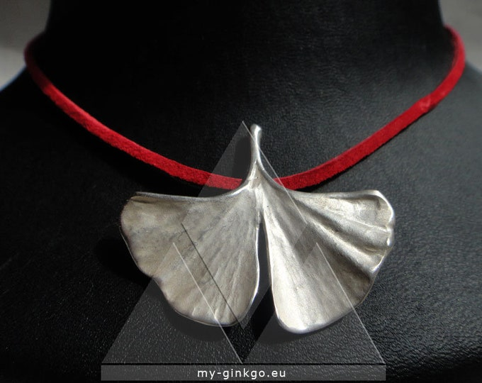 Ginkgo pendant with chain 925 silver from real leaf S22