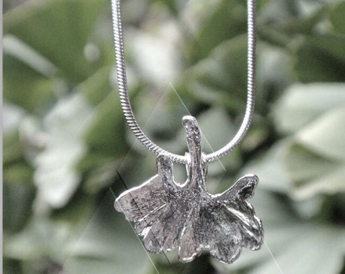 XS Real Ginkgoblatt silver plated snake necklace v