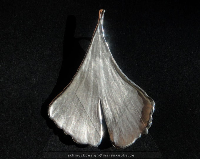Ginkgo Necklace Pendant 925 Silver Imprint from real Sheet S12