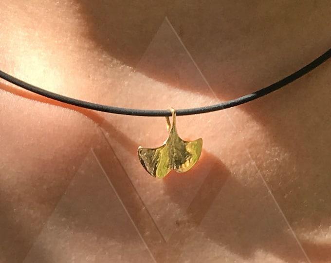 XXS Ginkgo GOLD 750 Necklace Choker Gift