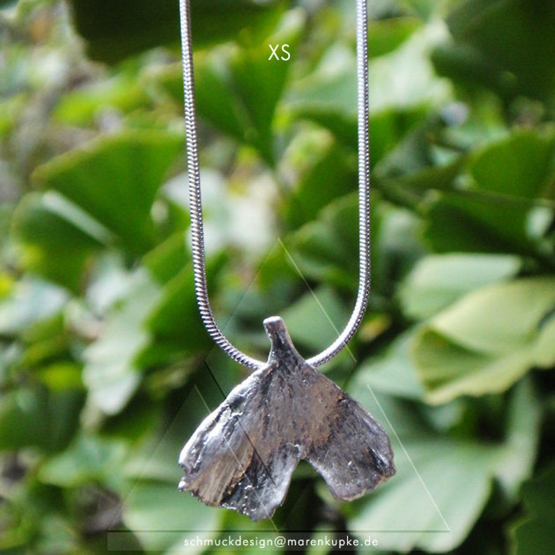 XS Real Ginkgoblatt silver plated snake necklace i