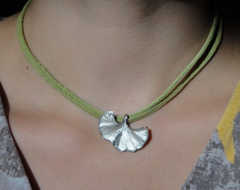 Ginkgo Leaf 925 Silver with Chain Birthday Gift XS14