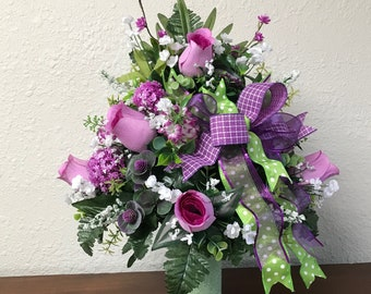 Dad Grave Memorial Spike Flower Vase Pair Mum Nan Tribute