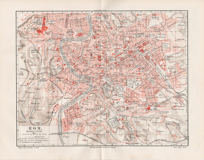 Rome incl name register original lithograph from 1907  map map vintage antique deco picture Italy